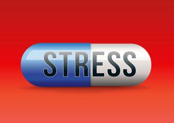 Concept du remède miracle contre le burn out, avec un médicament sous forme de gélule sur lequel est écrit le mot stress.