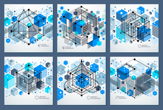 Lines and shapes abstract vector isometric 3D blue backgrounds set. Abstract scheme of engine or engineering mechanism. Layout of cubes, hexagons, squares, rectangles and different elements.