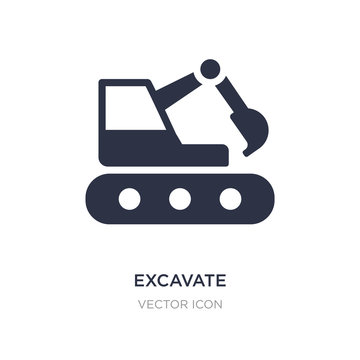 excavate icon on white background. Simple element illustration from Transport concept.