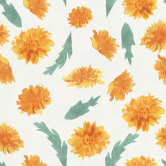 The pattern of wild flowers. Background from dandelions and tulips. The pattern with yellow flowers.