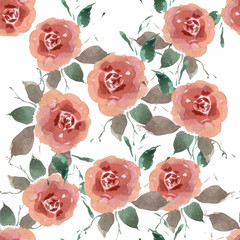 Pattern with rose blossoms on a white background. Simple vintage floral background. Ornament with painted pink flowers Pink color Seamless illustration