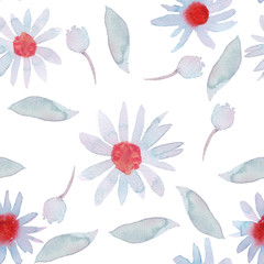 Seamless pattern with chamomile camomile flowers on white background.