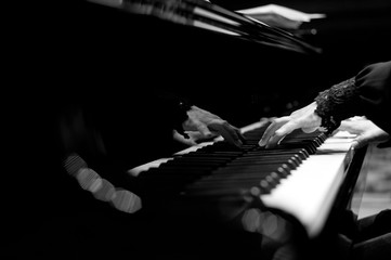key, hand, musician, pianist, white, player, keyboard, adult, person, black, musical, music, art, beautiful, sound, instrument, piano, caucasian, classical, play, background, concert, classic, perform
