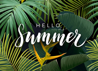 Summer tropical vector design with exotic dark green palm leaves and handlettering on the dark background.