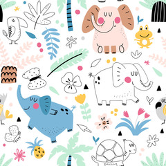 Fototapete - Kids seamless pattern with elephants
