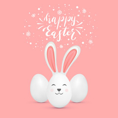 Cute Easter Rabbit and Eggs on Pink Background