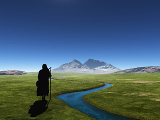 Traveler on a background of mountains.