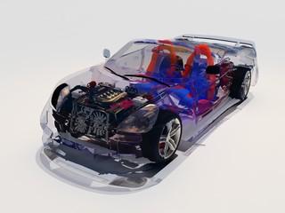 Model transparent cars.