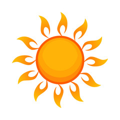 Bright yellow sun flat icon. Warm climate, sunny day, sunlight. Sun concept. Vector illustration can be used for topics like weather, season, meteorology