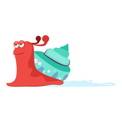 Funny smiling red slug with blue cochlea flat icon. Book character, pet, slime. Mollusk concept. Vector illustration can be used for topics like zoology, nature, fauna