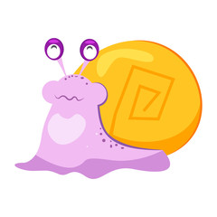 Quirky purple snail flat icon. Book character, fairy tale, underwater world. Mollusk concept. Vector illustration can be used for topics like zoology, nature, fauna