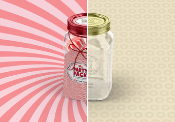 Mason Jar Gift Packaging Mockup