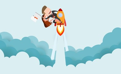 Businessman and women riding a rocket and smoke through cloud Business startup concept. vector illustration. flat design.
