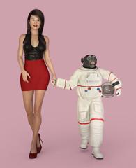 Junge Frau und Schimpanse im Raumanzug