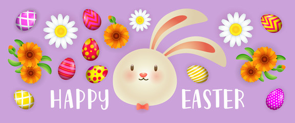 Happy Easter lettering with bunny, painted eggs and flowers. Easter greeting card. Typed text, calligraphy. For leaflets, brochures, invitations, posters or banners.
