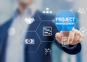 Professional project manager with icons about planning tasks and milestones on schedule, cost management, monitoring of progress, resource, risk, deliverables and contract, business concept
