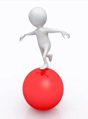 Balanceakt mit 3D Figur auf einer roten Kugel