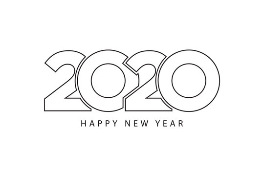 Simple style lines happy new year 2020 black white theme