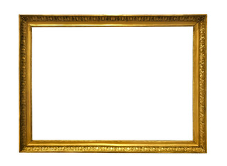 antique golden textured masterpiece frame with copyspace isolated on white backround