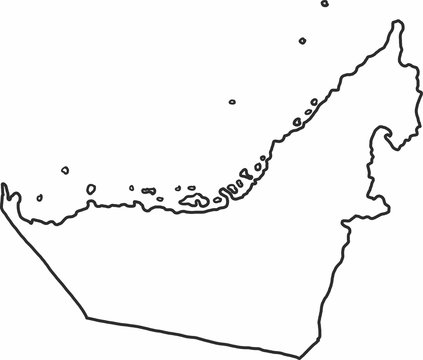 Freehand sketch UAE map on white background.