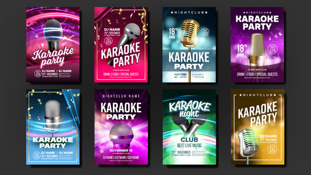 Karaoke Poster Set Vector. Mic Design. Disco Banner. Rock Fun. Vocal Sign. Media Announcement. Star Show. Modern Sound. Creative Layout. Voice Equipment. Sing Song. Dance Event. Realistic Illustration