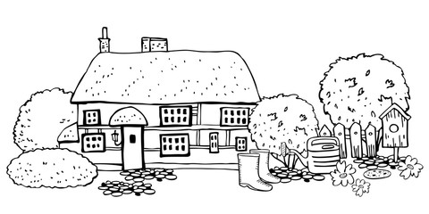 Old stone Europe countryhouse with gardening tools. Vector sketch hand drawn illustration. Cartoon outline house facade, watering can, boots, birdhouse and plants