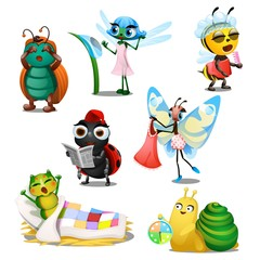 Set of cute joyful insects in the morning isolated on white background. Regimen of day. Vector cartoon close-up illustration.