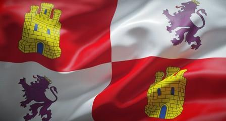 Bandera oficial de Castilla y León, comunidad autónoma Española.