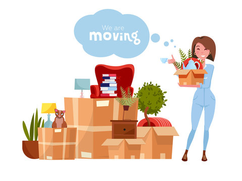 Vector cartoon illustration of loader mover woman in uniform carrying box. Pile of stacked cardboard boxes with stuff. Concept for home moving on white background. Lettering quote We are moving
