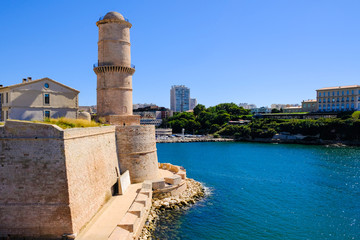 Marseille. Fortification Fort Saint-Jean and tower of King Rene.