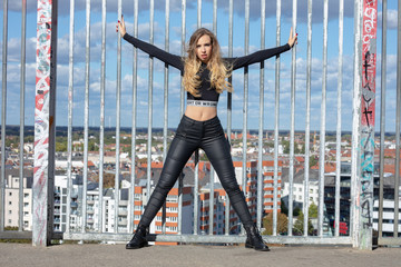 young sexy russian hard rock biker girl in the city of eden