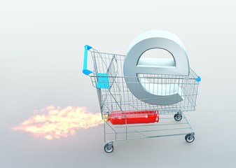 e-commerce concept. trolley with  E letter on rocket. 3D illustration.