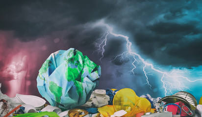 Earth on plastic trash. Ecology and Recycle concept.