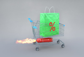 Exciting shopaholic concept on sales. Trolley with shopping bag on rocket.