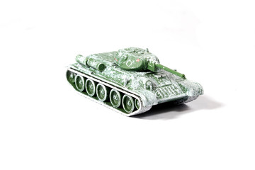 Vintage Used Child's Toy Tank On White Background