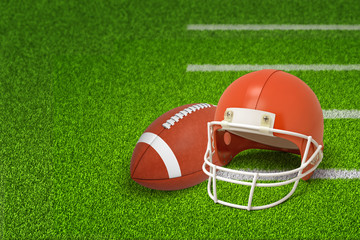 3d rendering of american football ball and helmet on green field background