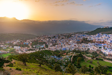 Skyline of Chefchaouen Morocco at Sunset