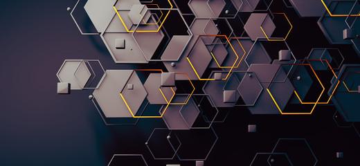 Datos en la nube y red.Concepto de ciencia y tecnología.Malla y formas geométricas Fotoväggar