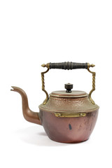 Vintage Antique Steam Punk Style Kettle Teapot on White Background