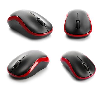 Set of modern computer mice on white background