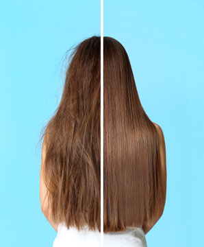 Woman before and after hair treatment on color background