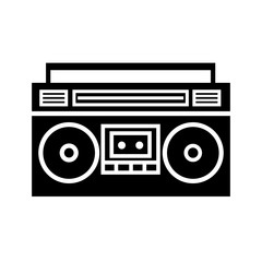 Boombox ghetto blaster silhouette icon. Clipart image isolated on white background