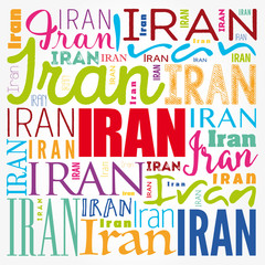 Iran wallpaper word cloud, travel concept background