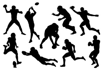 vector set of silhouette american football player