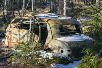 Altes Autowrack in einem Wald