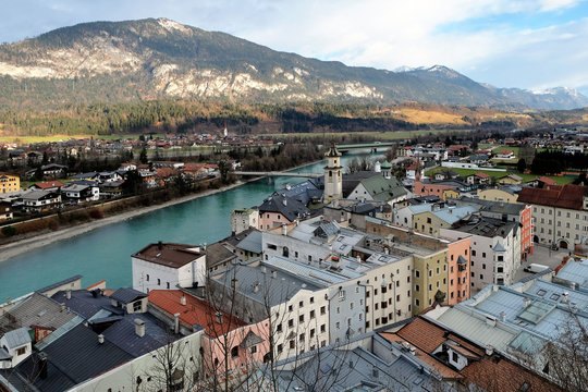 View over the historical center of Rattenberg, a small and picturesque medieval town on the Inn river in Tyrol, Austria