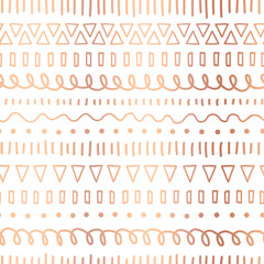 Rose Gold foil doodles seamless vector pattern. Copper Ethnic tribal motifs. Hand drawn metallic strokes, lines, triangles repeating background. Party invitation, birthday card, wedding celebration