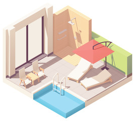 Vector isometric outdoor pool lounge