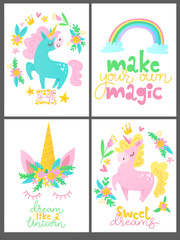 Sey of four children room decorations with unicorn