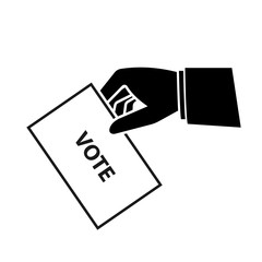 Hand holding ballot paper silhouette icon. Clipart image isolated on background